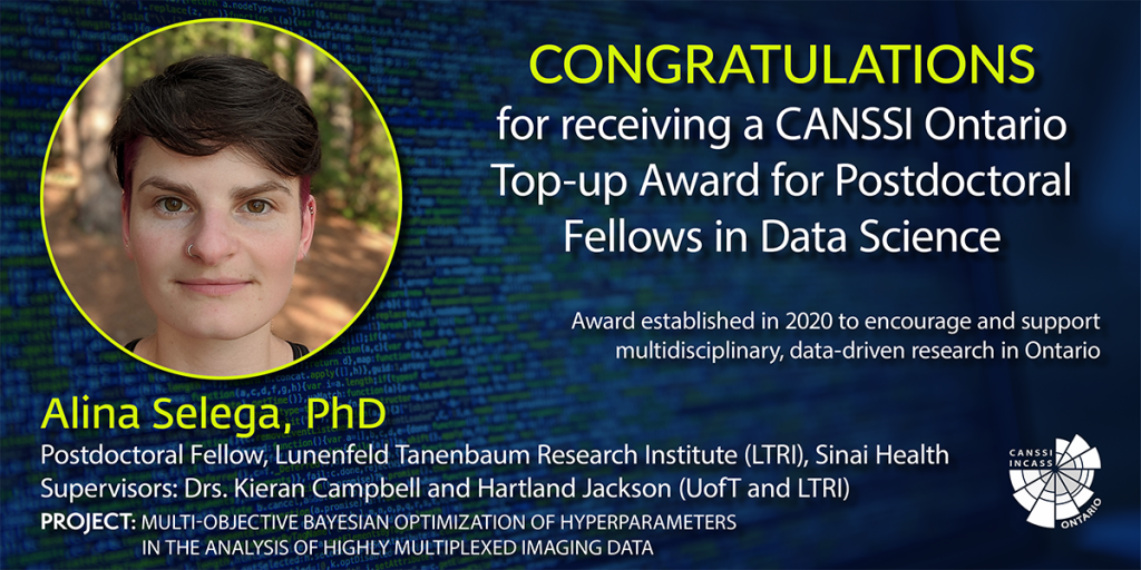 Image of Dr. Alina Selega's CANSSI Ontario top-up award announcement