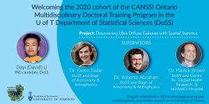Mdoc Program Announcement. Photos of Drs. Gwen Eadie, Roberto Abraham, Patrick Brown and U of T DoSS PhD candidate Dayi Li