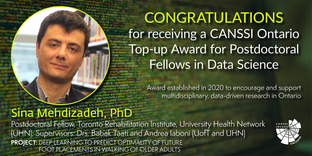 Image of Dr. Sina Mehdizadeh's CANSSI Ontario top-up award announcement